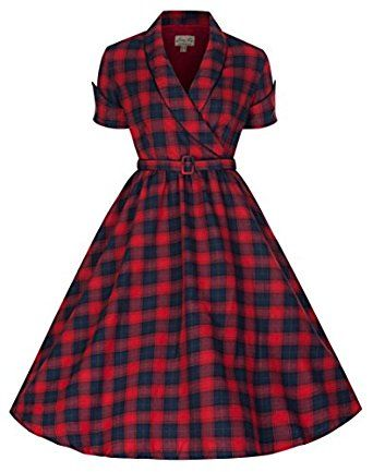 fee4df450 Lindy Bop 'Courtney' Perfectly Plaid 50's Vintage Red & Blue Swing Dress  (L, Red and Blue) at Amazon Women's Clothing store: