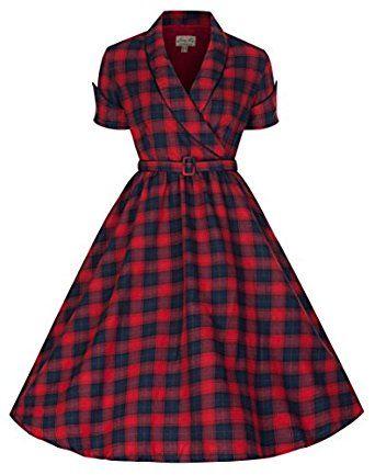 76f39adba6fe Lindy Bop  Courtney  Perfectly Plaid 50 s Vintage Red   Blue Swing Dress  (L