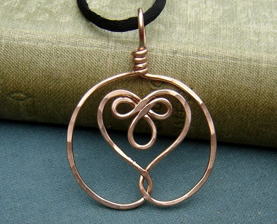 Celtic Embraced Heart Copper Pendant Celtic Necklace, Celtic Heart ...