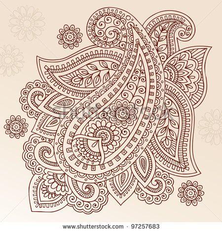 Henna Paisley Mehndi Doodles Abstract Floral Vector Illustration Design Element - stock vector
