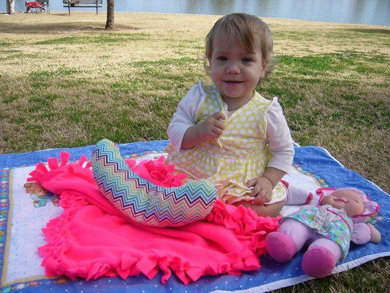 Baby Blanket Hot Pink Handmade Newborn Girl by PaperDollEve, $35.00