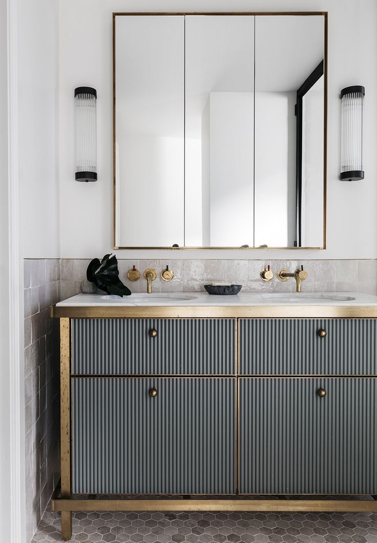 Beautiful Grey And Gold Bathroom Vanity With Images Art Deco