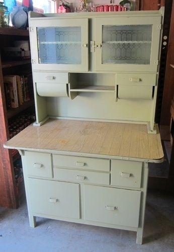 Antique Hoosier Kitchen Cabinet Green Powder Blast Wood Wooden - küchenschrank mit glastüren