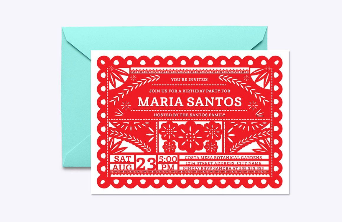 Papel Picado Invite Template - Invitations | Invitations | Pinterest ...