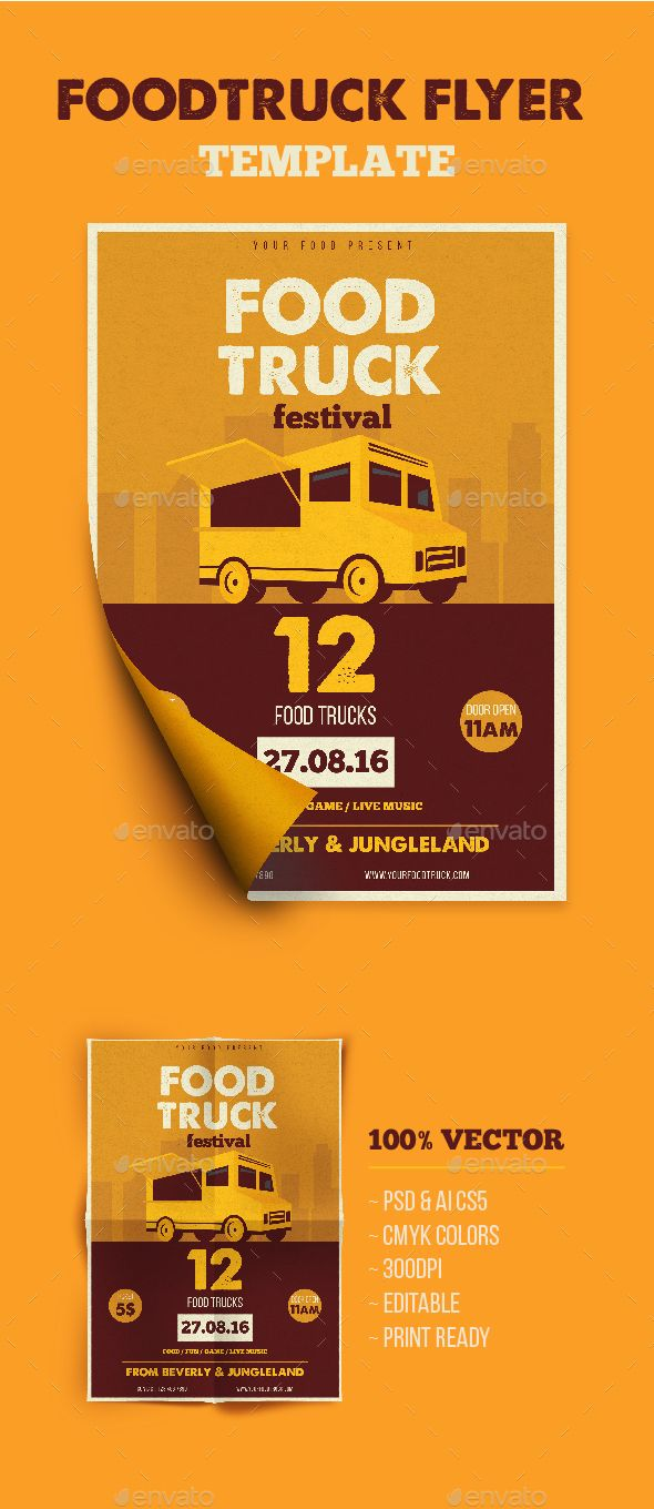 Food Truck Flyer Pinterest Food Truck Ai Illustrator And Flyer - Food truck flyer template