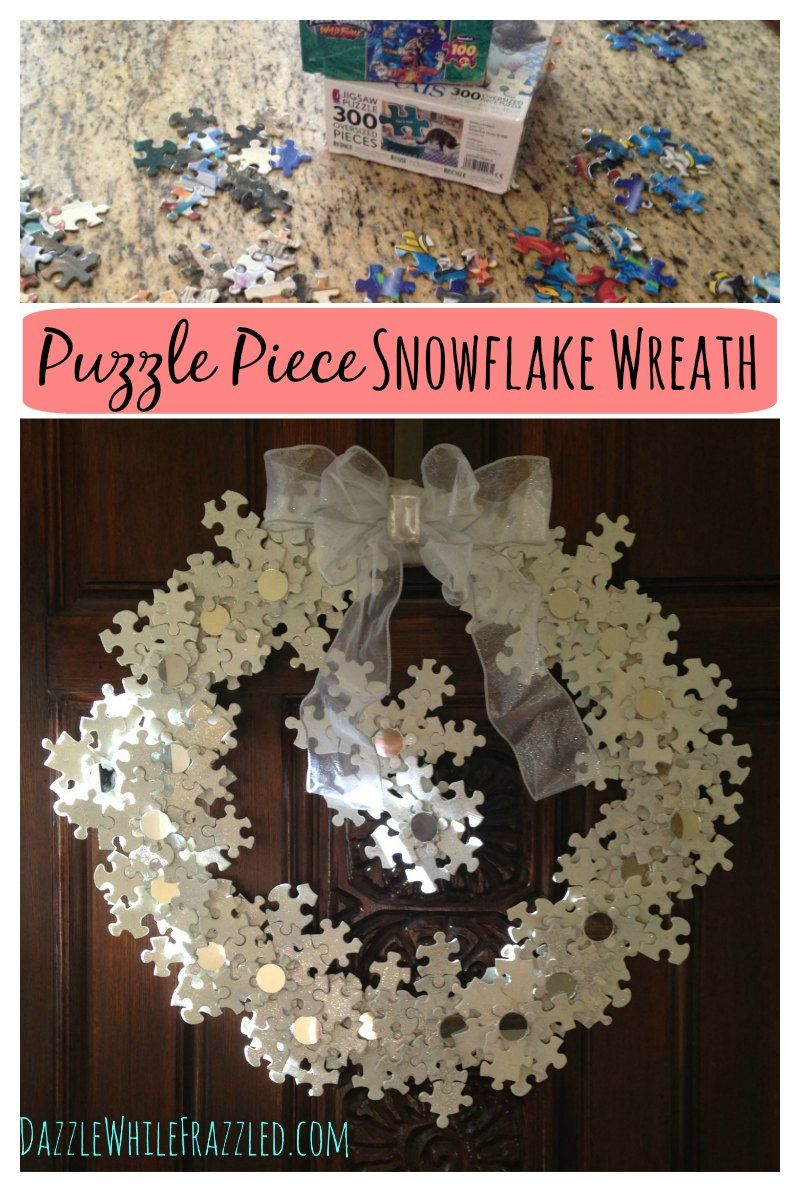 Turn the kids puzzle pieces into a stunning DIY snowflake wreath made of painted puzzle pieces. Great winter craft for kids to help with  via @https://www.pinterest.com/dazzlefrazzled/