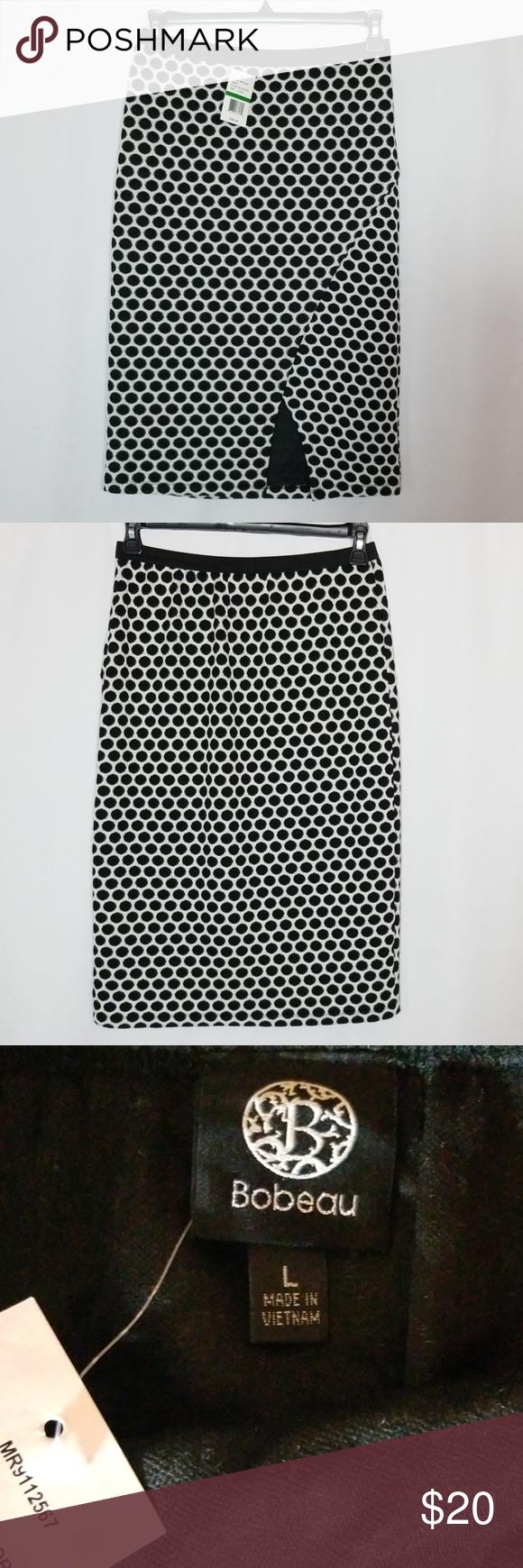NWT Bobeau Polka Dot Skirt Size Large Brand new skirt! Elastic band waist and waist to hem is 27 inches.  #0502 bobeau Skirts