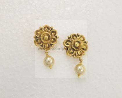 Gold Earrings Rings 22kt Hoop 22k Simple Jhumki Plain Kerala Tops And Hangings