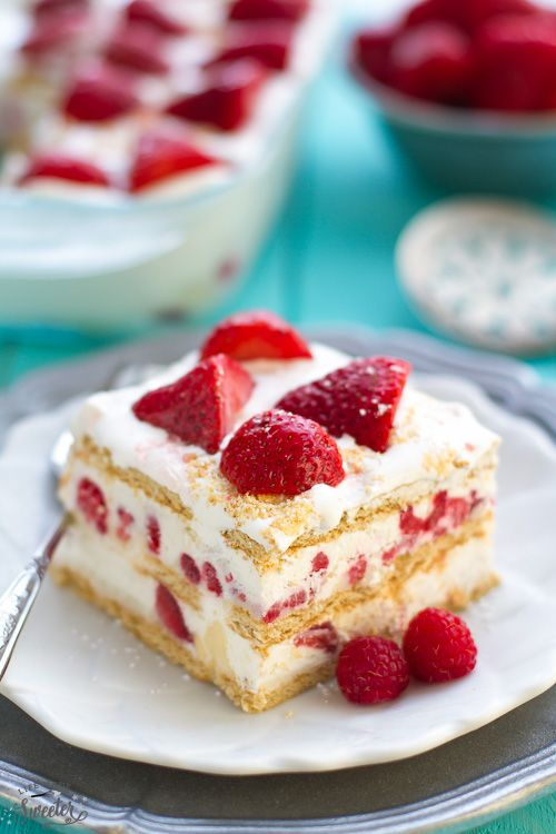Strawberry Icebox Cake is the perfect No Bake dessert with a cheesecake filling. Best of all, only 5 ingredients + always as hit at summer potlucks & BBQ's.