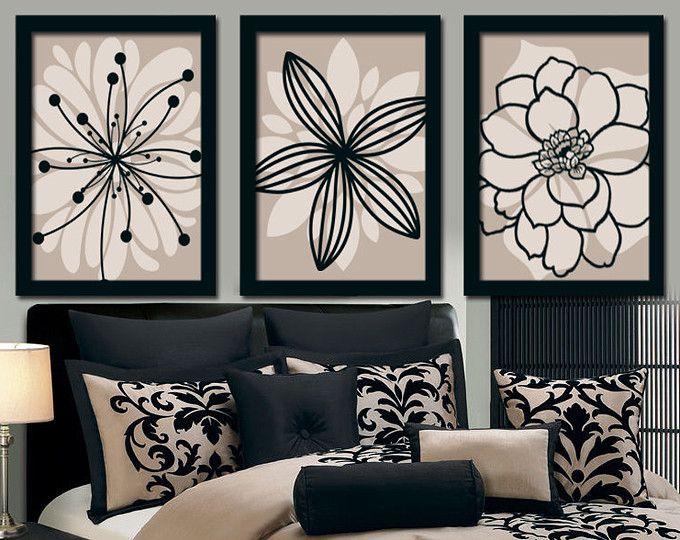 Beige black wall art bedroom canvas or prints bathroom artwork bedroom pictures flower