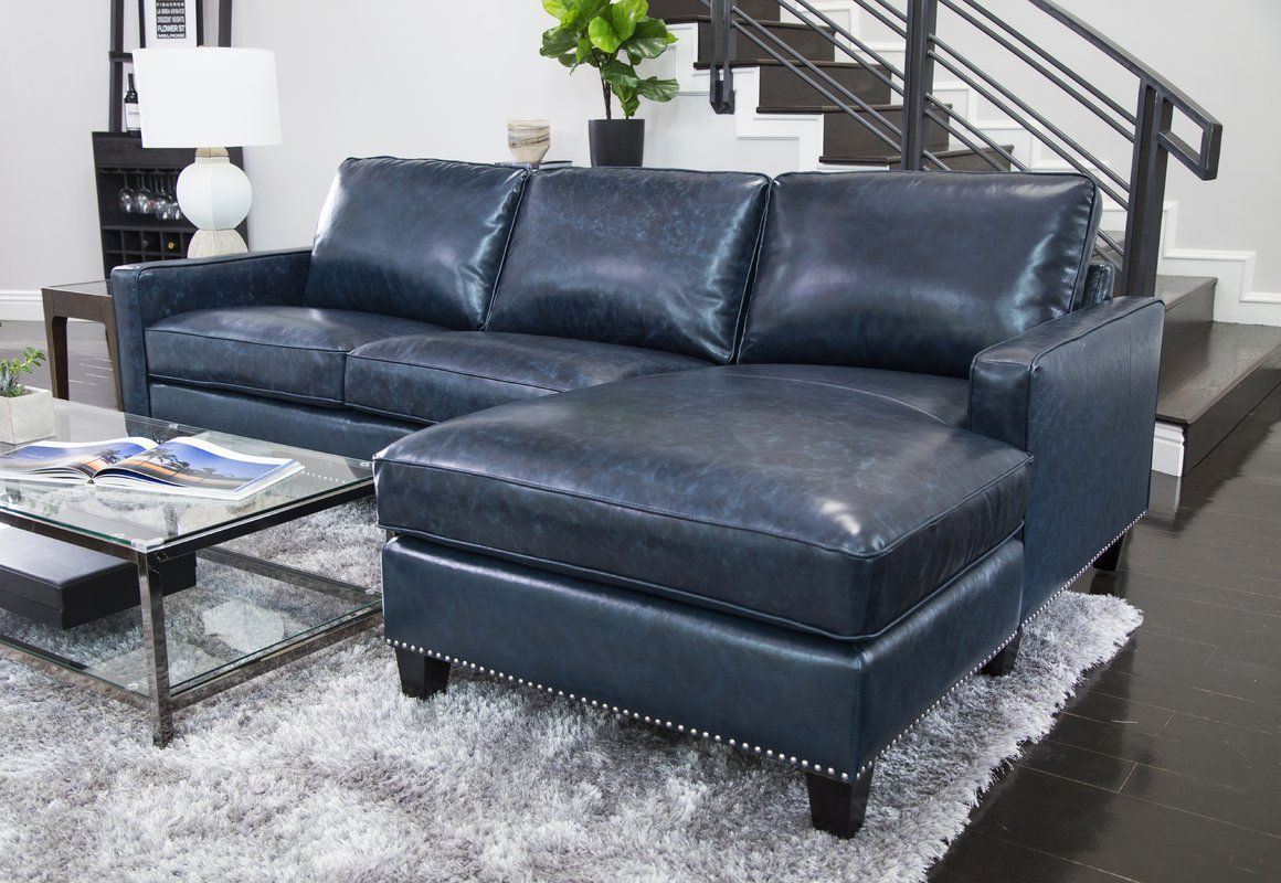 Samatha Leather Sectional Blue Leather Couch Sectional Sofa