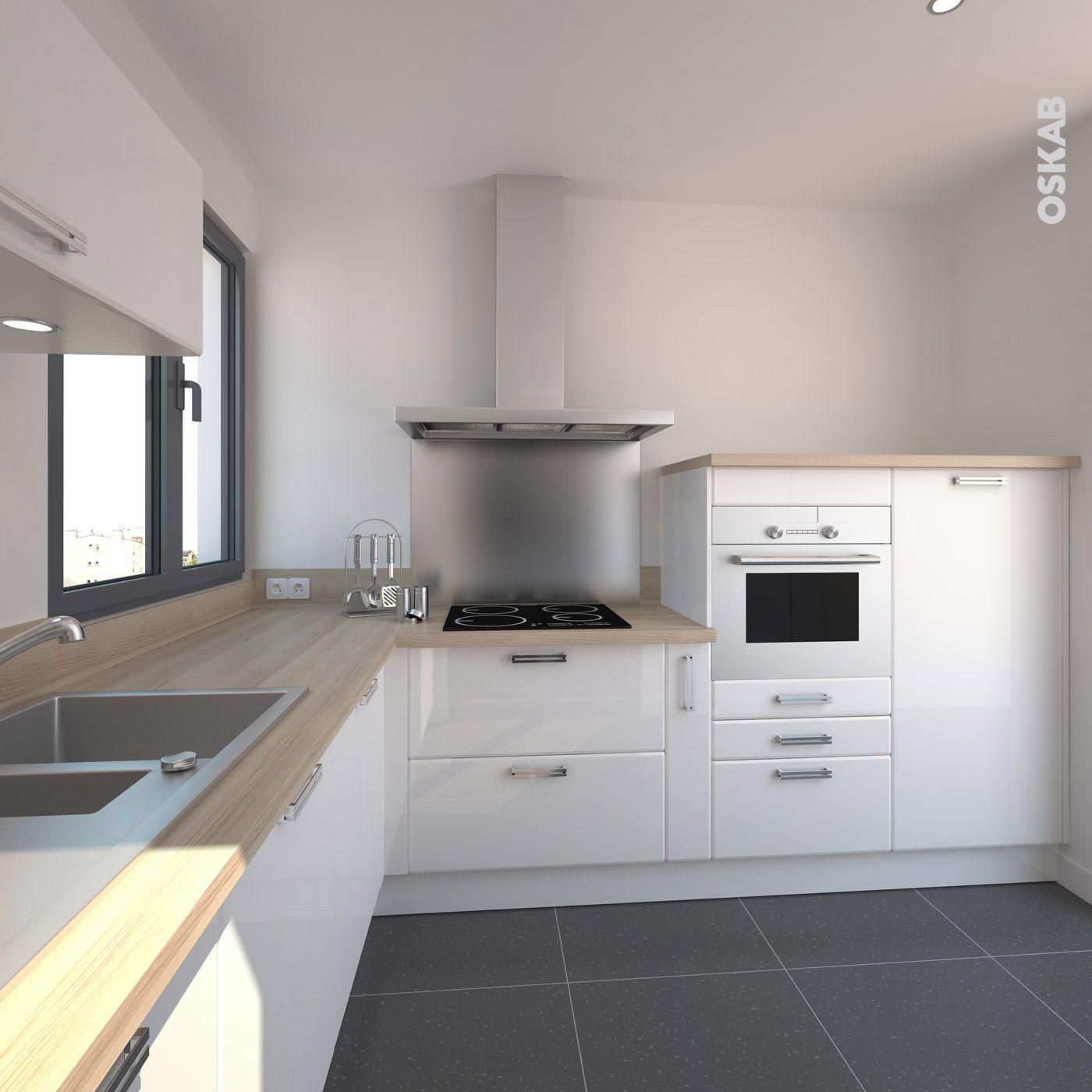 Plan De Travail Coulissant cuisine blanche design meuble iris blanc brillant | cuisines
