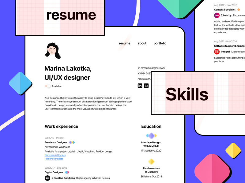 Minimal Figma Cv Resume Freebie In 2020 Ux Design Figma Dribbble Design