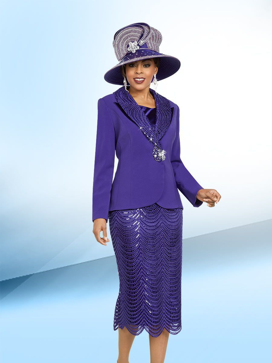 81044f873ad Ben Marc 48171 is a three piece micro church suit that has a 28 inch jacket  with sequin embellished collar