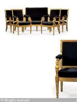 Attributed To JACOB DESMALTER François Honoré Georges   A SUITE OF EMPIRE  SEAT FURNITURE,