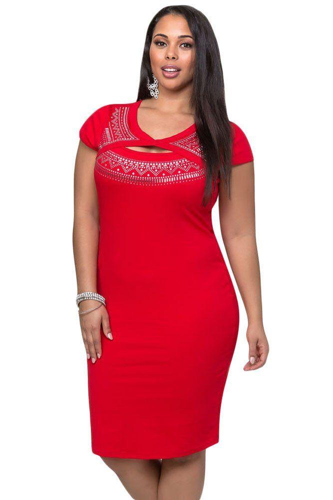 44a3ab724c7 Achat Robes Taille Rouge Plantureuse Cutout Foil Impression Robe plus size  dresses with sleeves cocktails L-XXXL €14.80 MODEBUY.COM