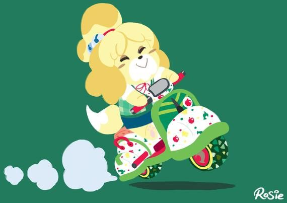 Isabelle Cute Scoot Mario Kart Animal Crossing Art