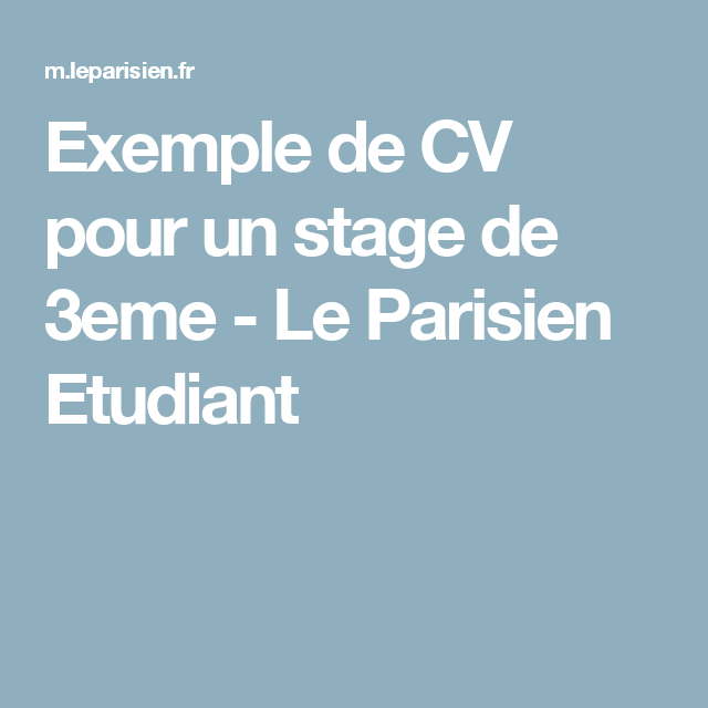 exemple de cv stages job le parisien etudiant