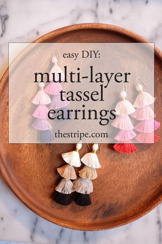 Large Triple Stack Tassel Earrings /& Necklace Combo