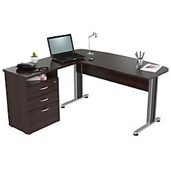 Inval Uffici Curved Top Desk Espresso Wengue By Office Depot Amp