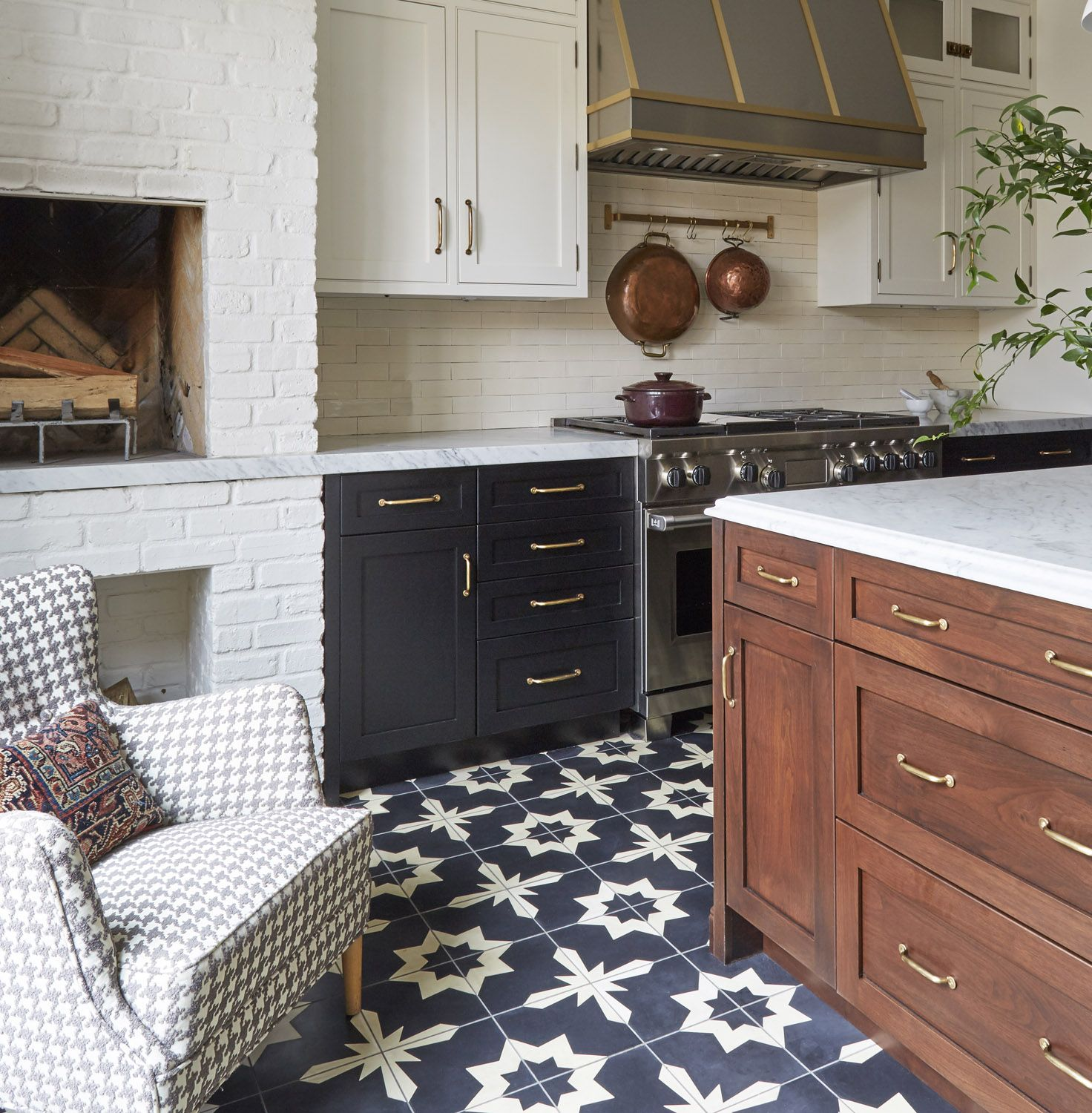 A Historical Inspired Kitchen With Industrial Vibes In Chicago Rue Kitchen Fireplace House Interior Cozy Kitchen Small kitchen with fireplace