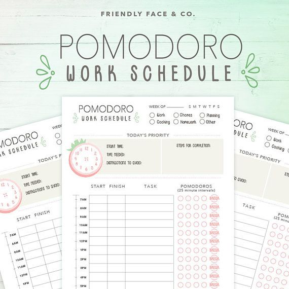 pomodoro productivity planner printable a5 planner happy