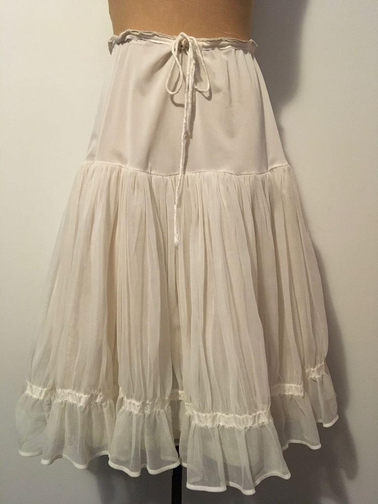 1950s Vintage Petticoat Half Slip Nylon Tiered Layered
