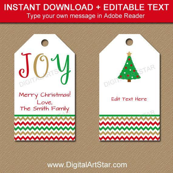 Printable Christmas Gift Tags Editable Christmas Hang Tags