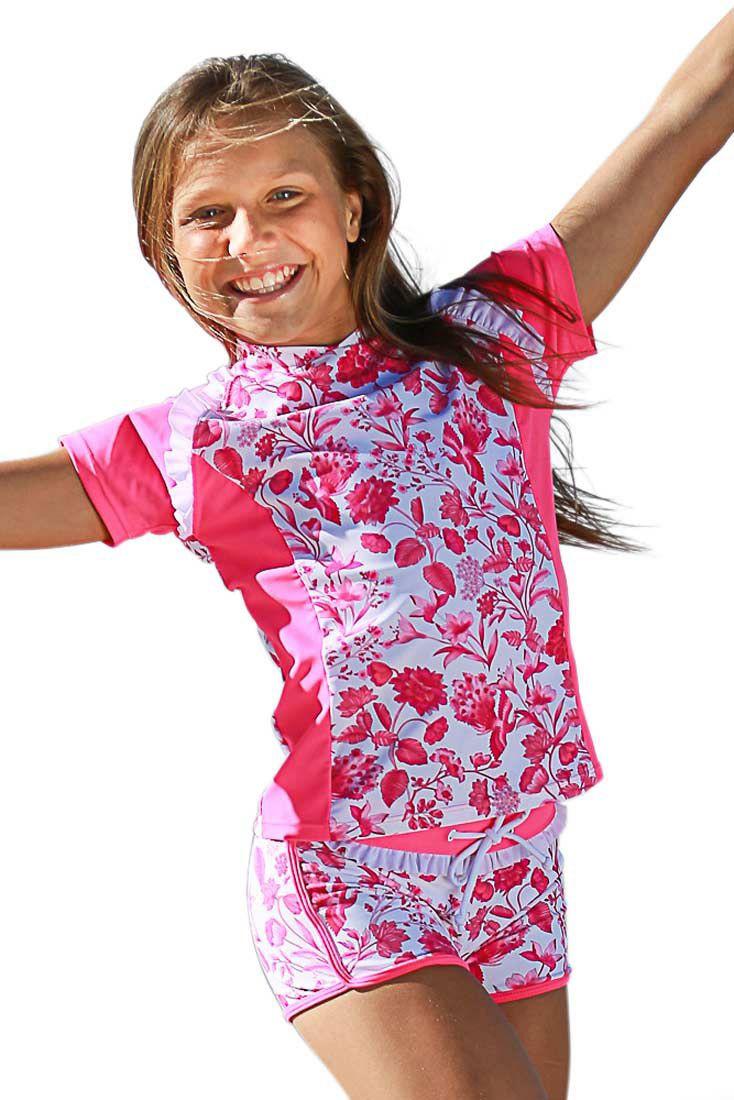 d6979330c61 Girls Swim Shirt and Boyleg Shorts Set | Little Princess Style ...