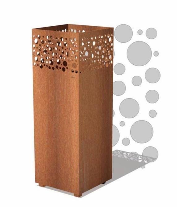 Vuurzuilen 'Kaen, Levi en Kir' (maatwerk en met verzonken wielen mogelijk) NIEUW Materiaal : cortenstaal Maten (LxBxH) : 40 x 40 x 100 cm Dikte cortenstaal : 3 mm Keuze uit 3 verschillende uitgelaserde dessins / figuren.