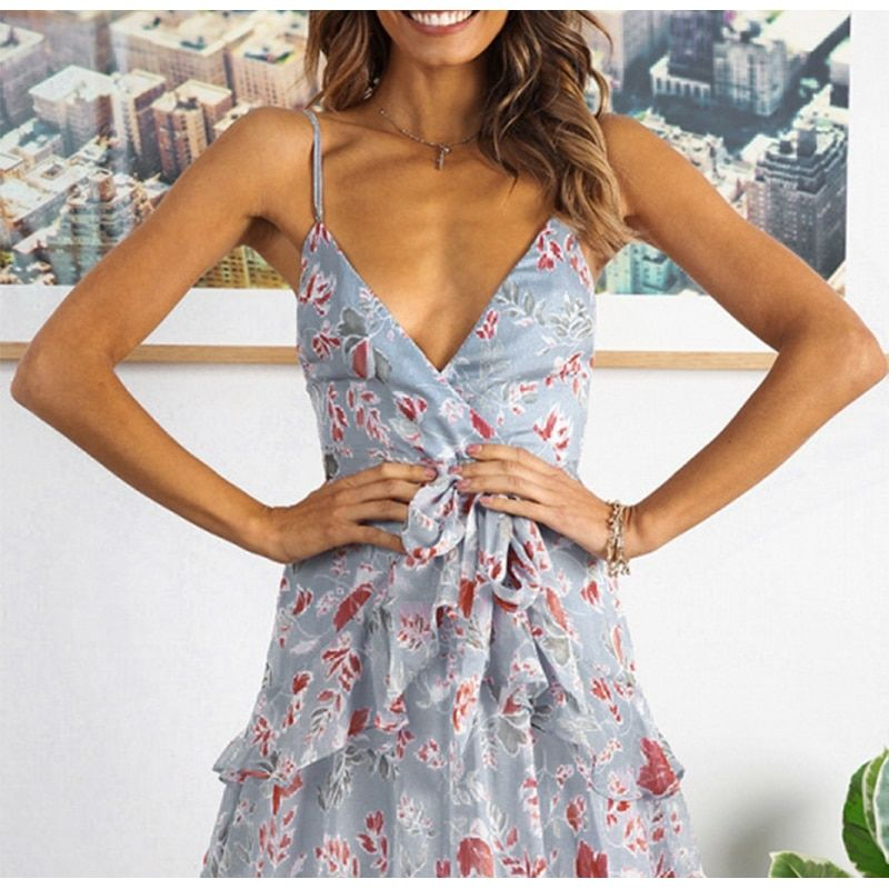 Elegant Red Print Short Dress Women 2019 Summer Sexy Strap V Neck Backless Dress Holiday A-Line Bow Chiffon Dress Vestidos JKP1439 #shortbacklessdress