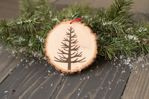 Tree wood slice ornament Rustic Christmas by FoxyMountainDesigns