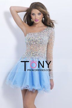 2015 One Sleeve A-Line Tulle Homecoming Dresses With Rhinestones $169.99 TPPHX8KXLL - TonyPromDresses.com