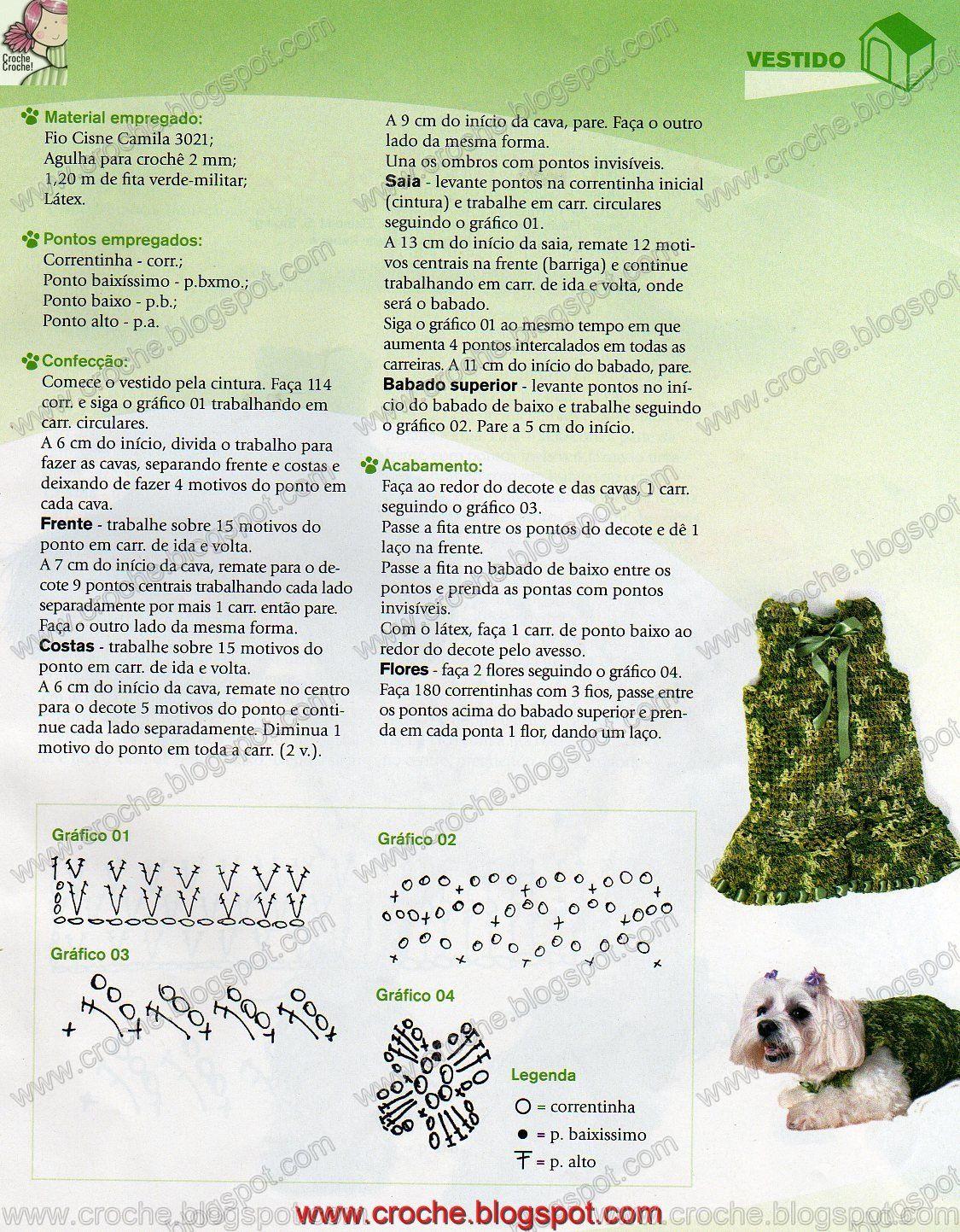 Receitas do Croche Croche!: roupa para cachorro - vestido | dla ...