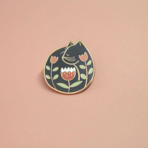 Cat Nap Black Enamel Pin | Hard Enamel, Lapel Pin, Flair, Brooch, Cat Lady Pin, Cat Pins, Black Cat Pin, Gifts for Cat Lovers, Cat Gifts