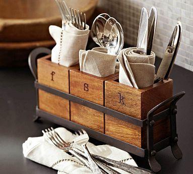 Vintage Blacksmith Flatware Caddy Organizador De Cubiertos Disenos De Unas Paredes De Cocina