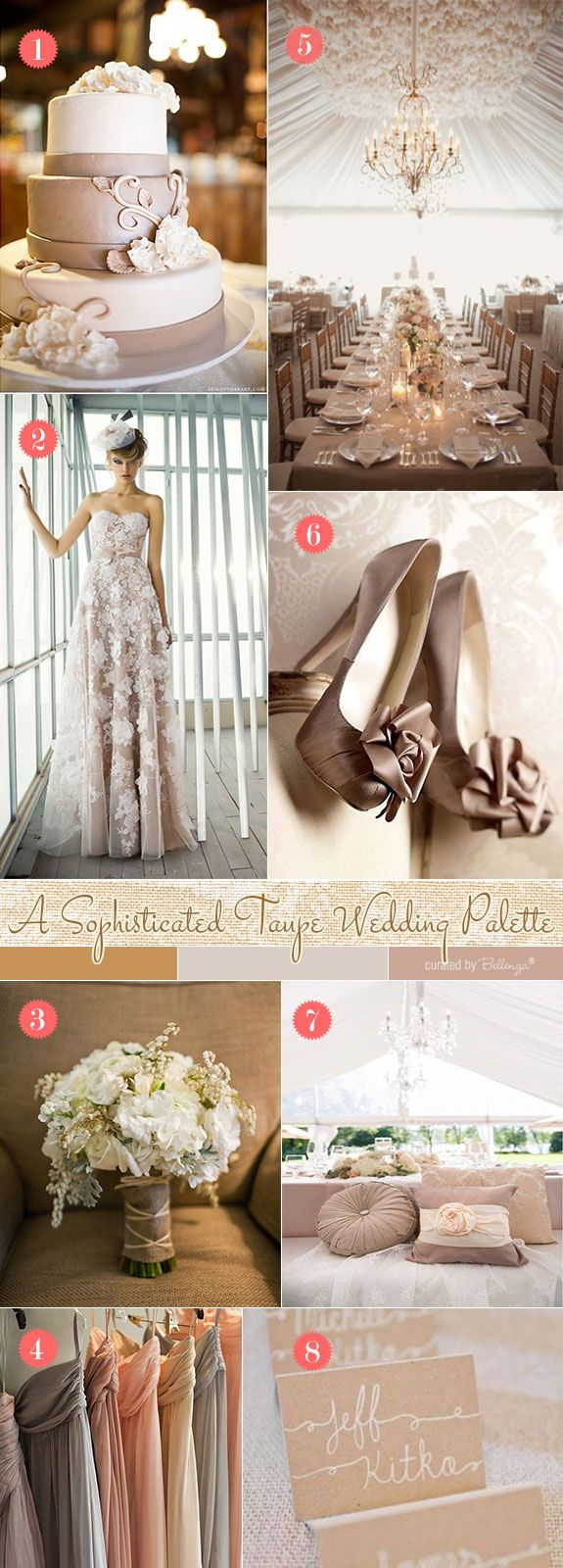 Taupe wedding in vintage glam style. See more fab finds at the Wedding Bistro at Bellenza. #inspirationboards #weddings #weddingideas #bellenzaweddings