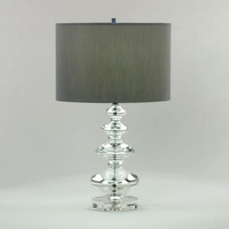 Glass Base Table Lamps Glass Base Table Lamp With Silk Grey Shade  In Stock Lighting