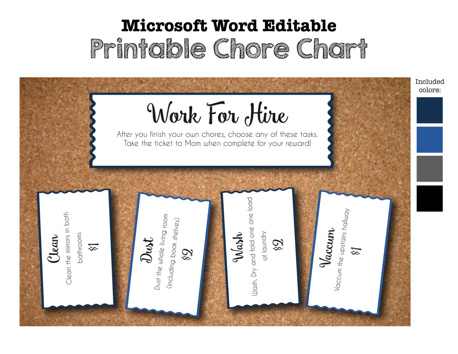 printable chore chart work for hire tickets coupons voucher printable chore chart work for hire tickets coupons voucher invitations diy microsoft word