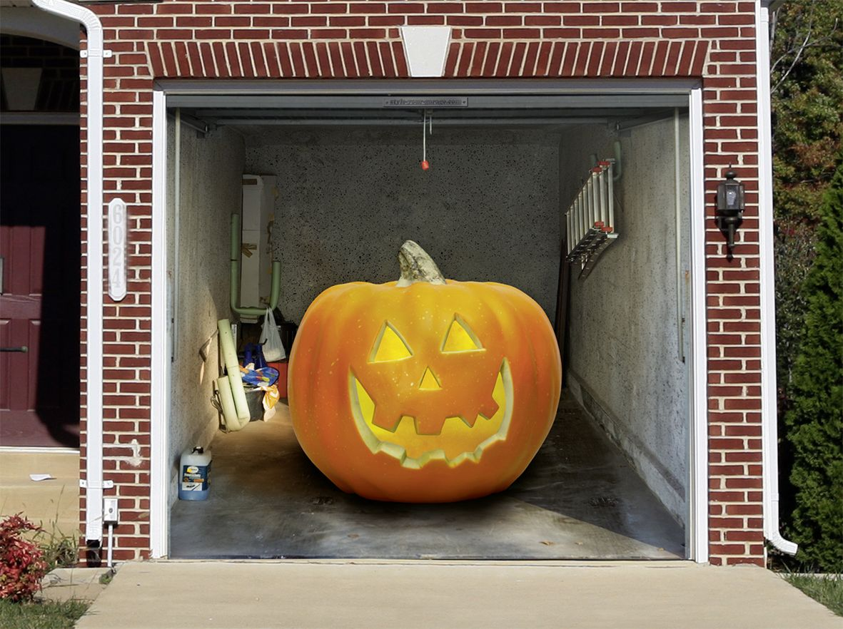 Evil Pumpkin Garage mural with Halloween motifs Halloween - Halloween Garage Door Decorations