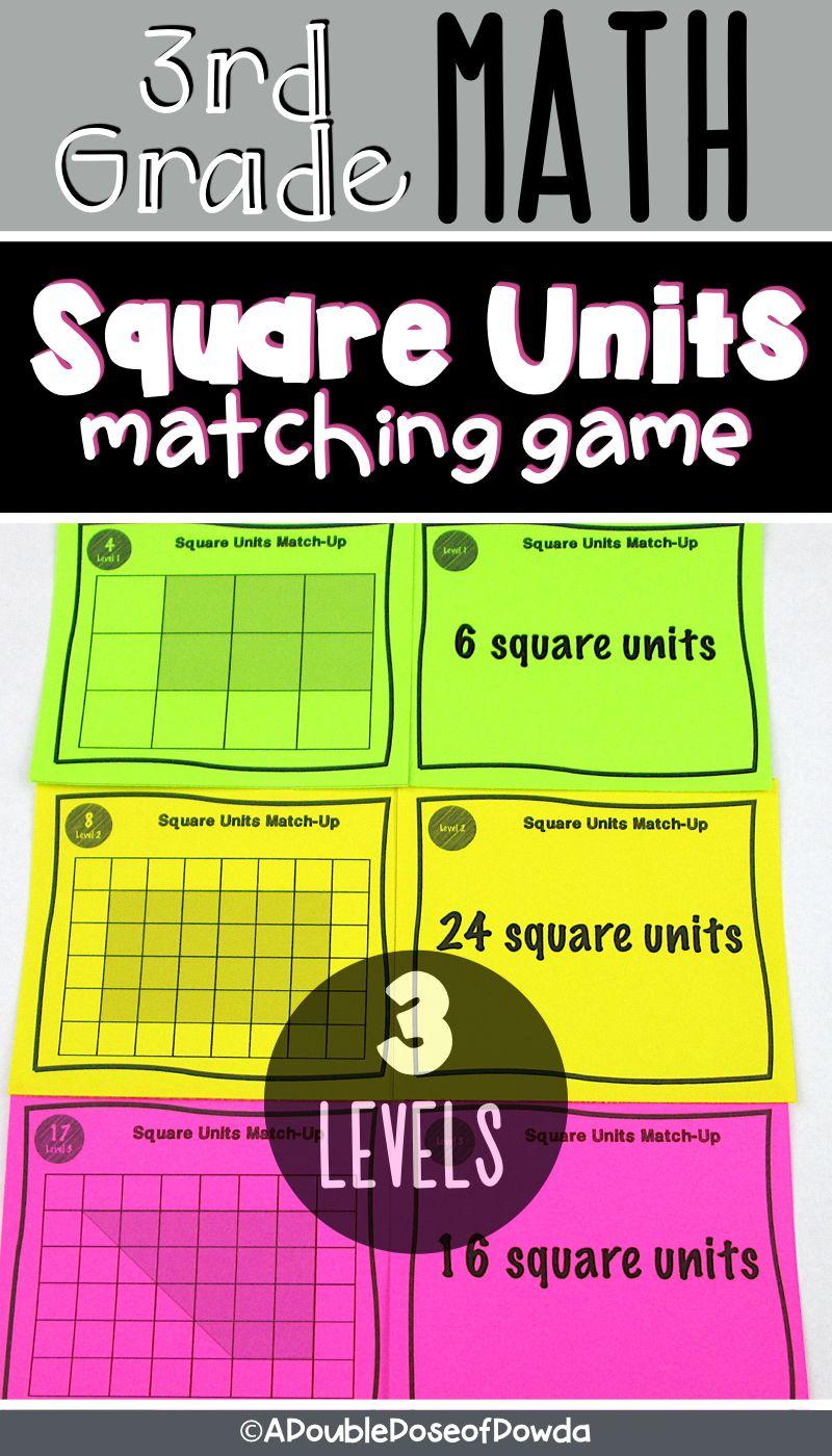 Basic Area Matching Activity Game Elementary Math Games Third