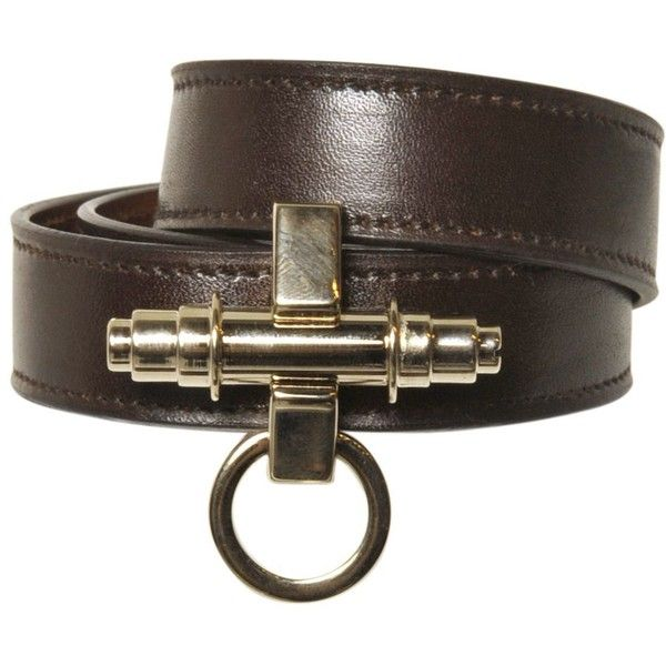 Givenchy Women Obsedia Wrap Around Leather Bracelet ($445) ❤ liked on Polyvore featuring jewelry, bracelets, dark brown, givenchy, snap jewelry, snap button jewelry, givenchy jewelry and leather bangle