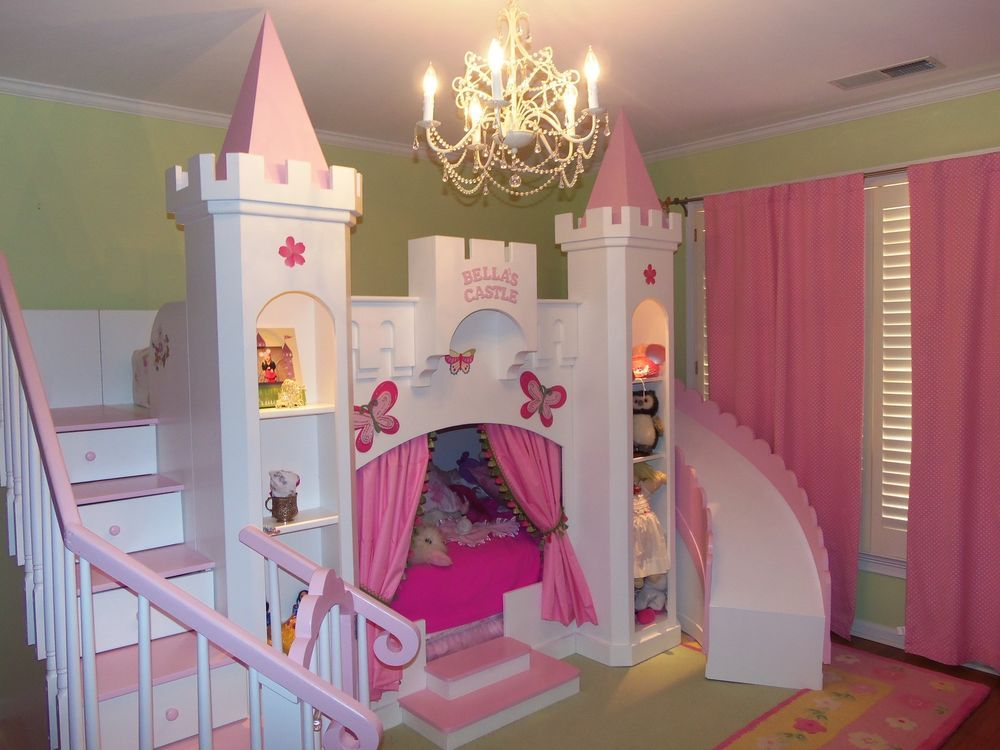 New bella 39 s 2 custom princess castle loft bed free for Castle bedroom ideas