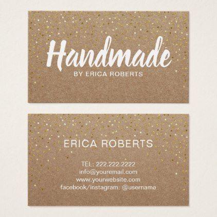 Handmade gift gold confetti rustic kraft business card gold confetti handmade gift gold confetti rustic kraft business card reheart Image collections