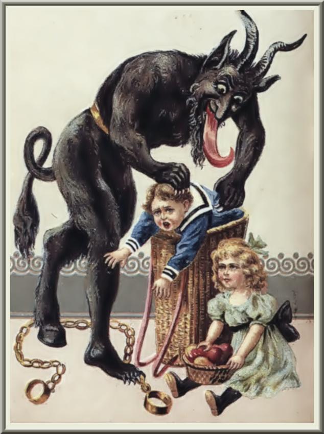 Krampus & bad children - a postcard