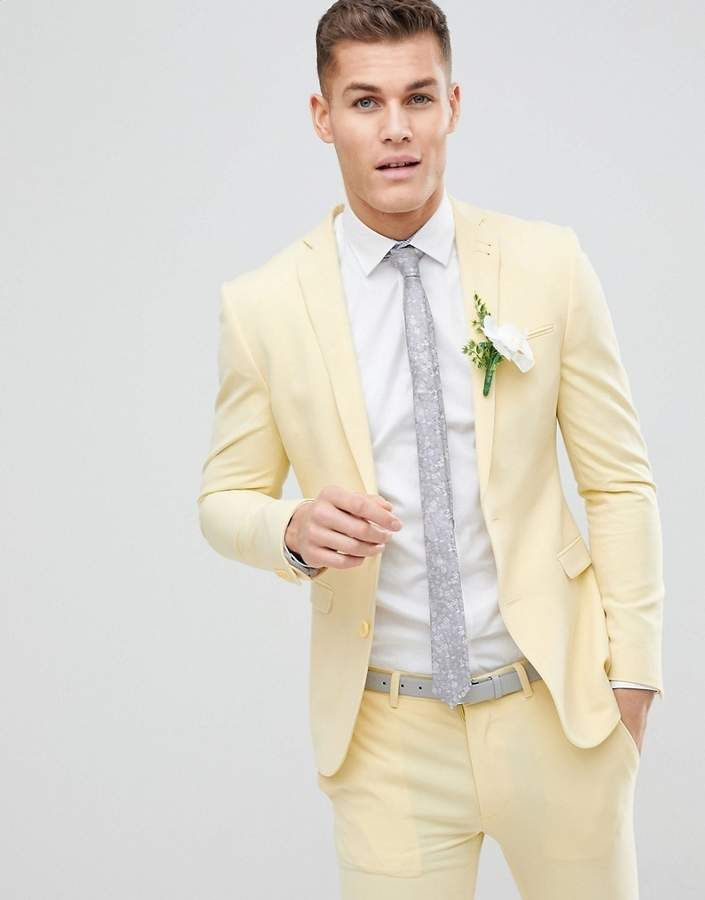 ASOS DESIGN Wedding Super Skinny Suit Jacket In Sherbet Lemon ... 4b7cab4ff42