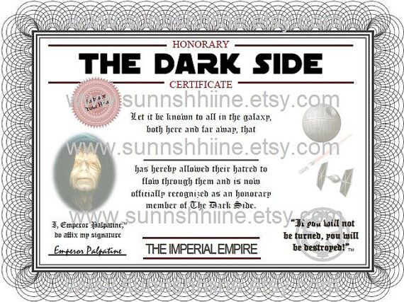The Dark Side Certificate (Star Wars, Darth Vader, Party Favor - event planning certificate