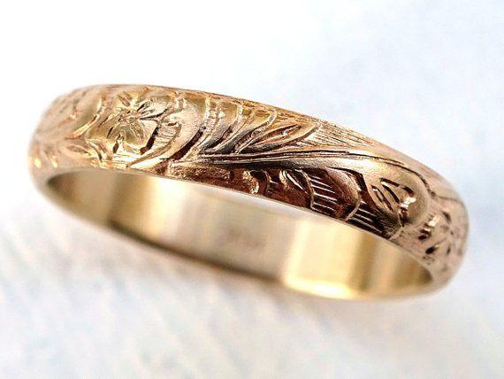 Pagan Wedding Band Women Medieval Wedding Ring Gold Flower