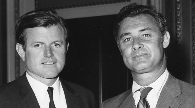 Ted Kennedy with California State Senator and future San Francisco mayor George Moscone (1969) via Consolidated News   Photo: From 'Double Play', by Mike Weiss