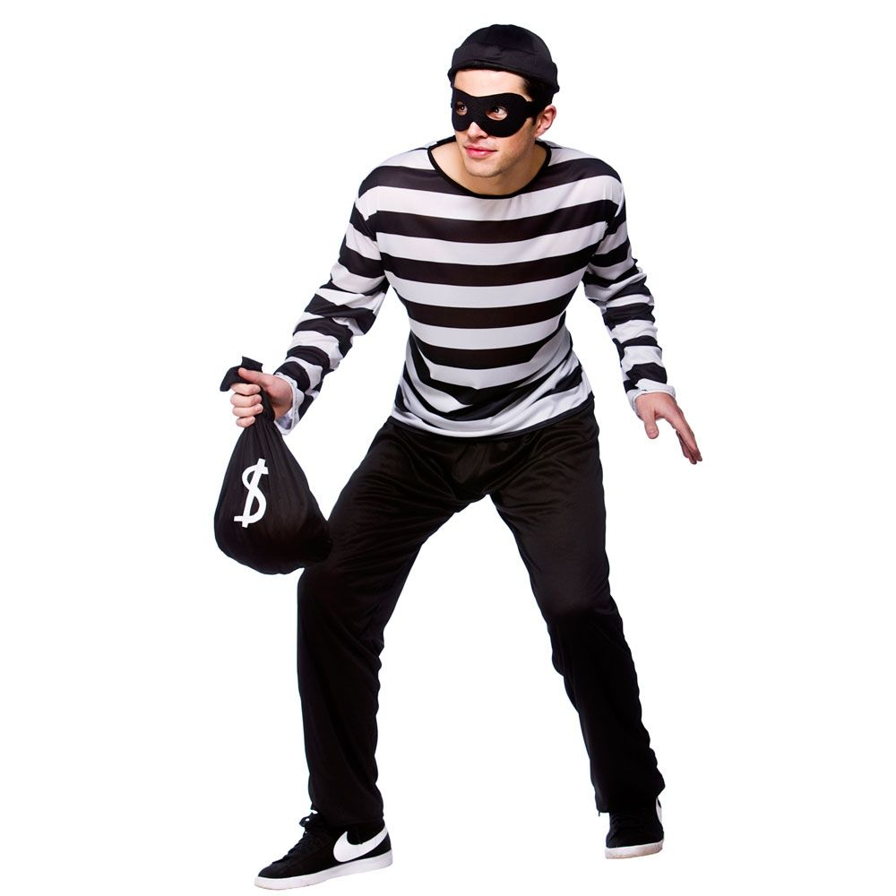 Burglar Thief Fancy Dress Cops & Robbers Uniform Mens Halloween ...